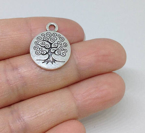 10pcs Silver Tree of Life Charms, Tree Charms, Family Tree Charm, charm for bracelet, charms for Necklaces, Wholesale Charms