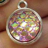 3 Purple Lilac Pink AB Round Mermaid Fish Scale Charm Cabochon - 12mm - Decoden - DIY - Scrapbooking - Nautical