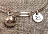 Softball bangle, Basetball charm bracelet, Sports bangle, personalized bracelet, initial bracelet, Bridesmaid Gifts
