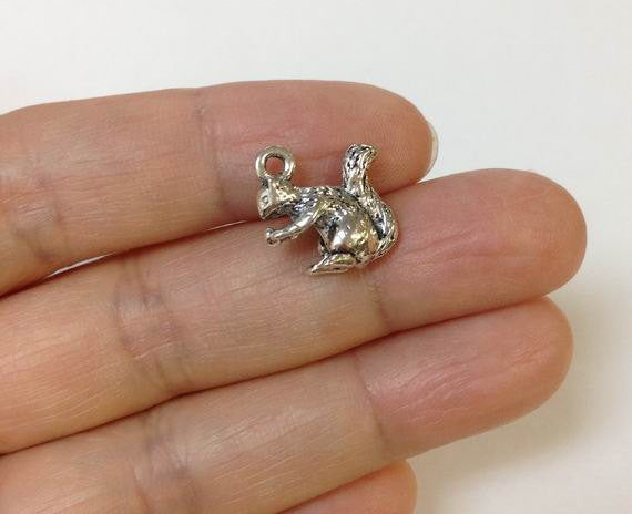 10 Squirrel charms, Jewelry findings, Jewelry supplies