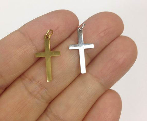 10 Cross Charms Gold Silver Stainless Steel