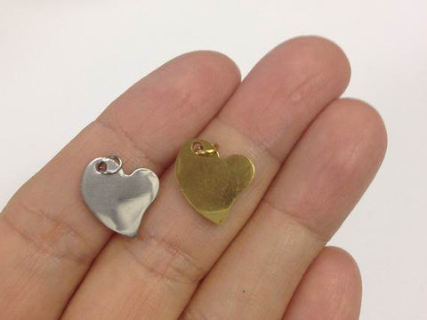 2 Stainless Steel Heart Charm