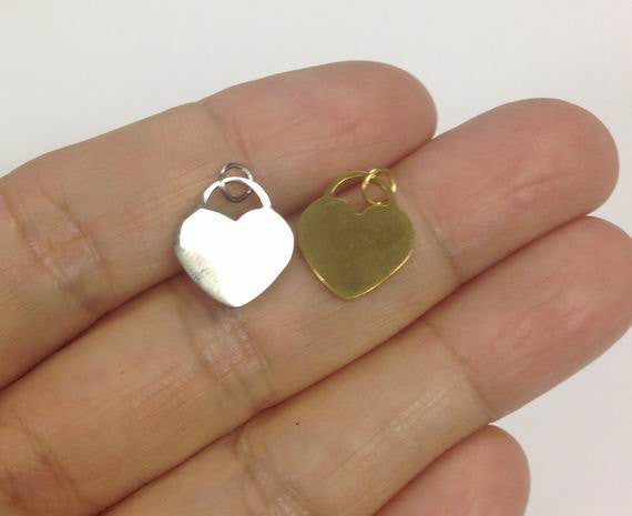 Stainless Steel Heart Charm, gold or silver heart charm
