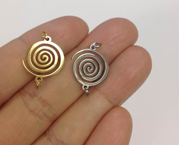 Stainless Steel Round Swirl Charm, swirl Connector charm 6 PCS