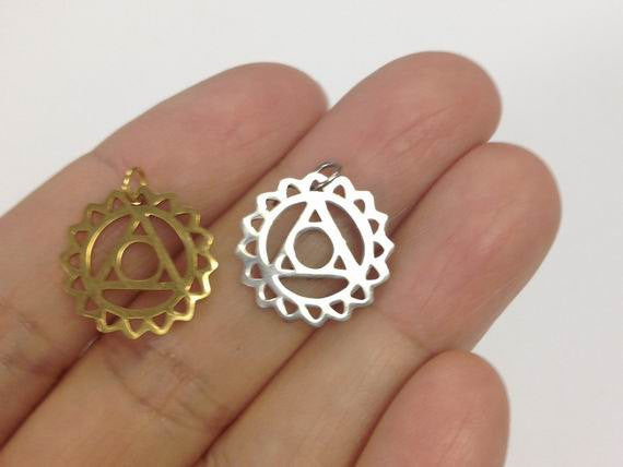6 Stainless Steel Throat Chakra Charm Gold Or Silver
