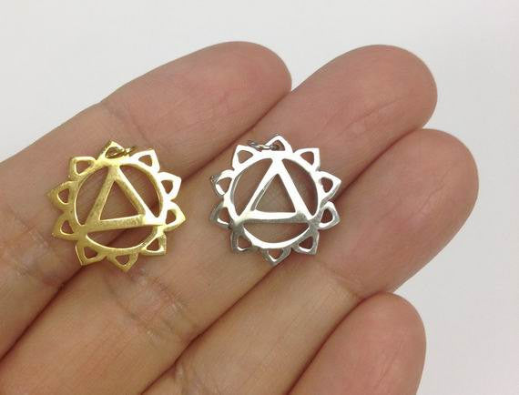 Stainless Steel solar plexus chakra Charm Gold or Silver 6 PCS