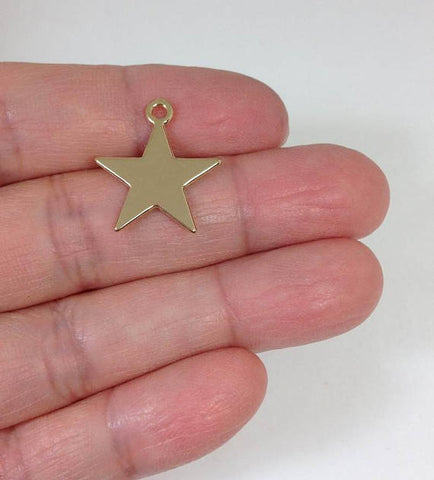 10 Gold Star Pendant Earring Charm Supply