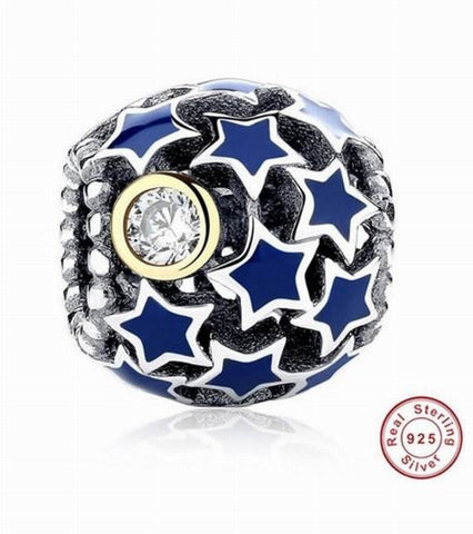925 Sterling Silver Blue CZ Starry Night Charm