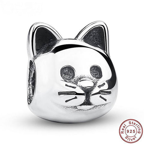 925 Sterling Silver Kitty Cat European Charm, Pandora Charm, Fits Pandora Bracelets