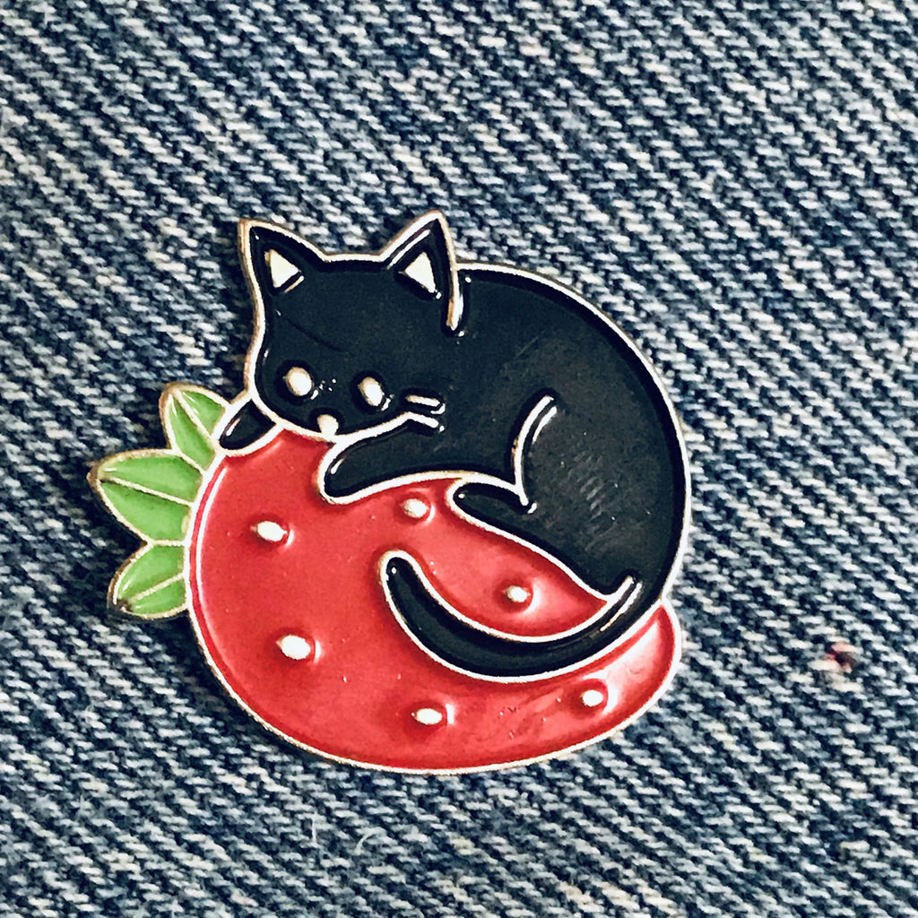 Strawberry Cat Enamel Pin, funny cat pins