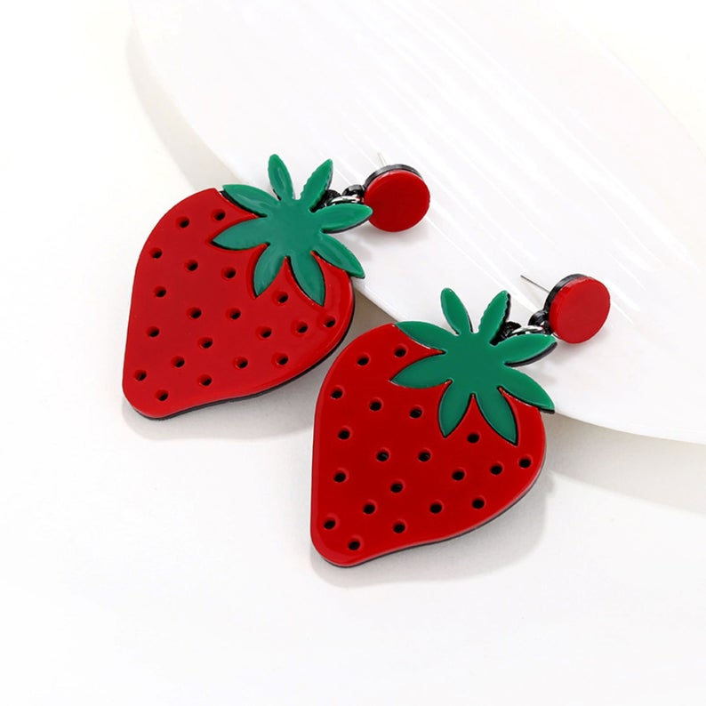 Strawberry Earrings, Lemon Gifts, Novelty Earrings