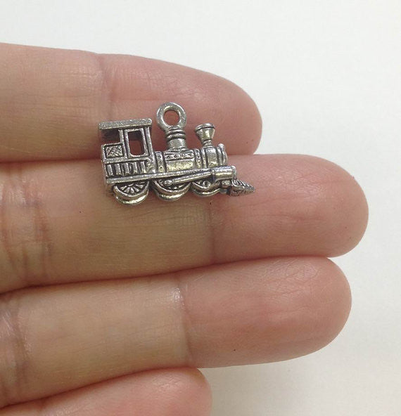6 Steam Train Charm, Steam Engine Charm, Train Charm