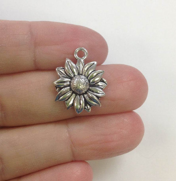6 Wholesale Sunflower Pewter Charms, Sunflower charm