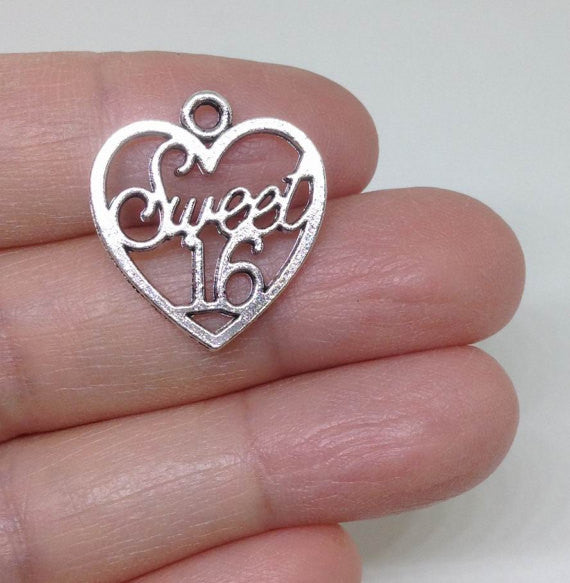 6 Sweet Sixteen pewter charm, Sweet 16 charm, wholesale charm