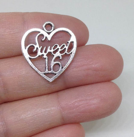 10pcs Sweet Sixteen pewter Charm, Sweet 16 Charm