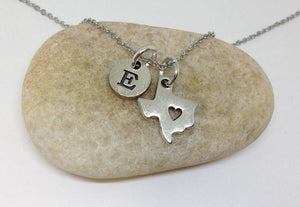 Texas Map Charm Personalized Necklace