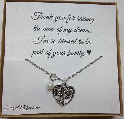 bef9e1142 Mother of The Groom Tree Charm Necklace