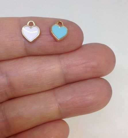 10 Tiny Enamel Heart Charm DIY Supply