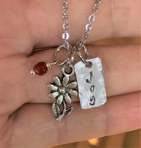 Joy Charm Necklace - Tiny Flower Charm Jewelry