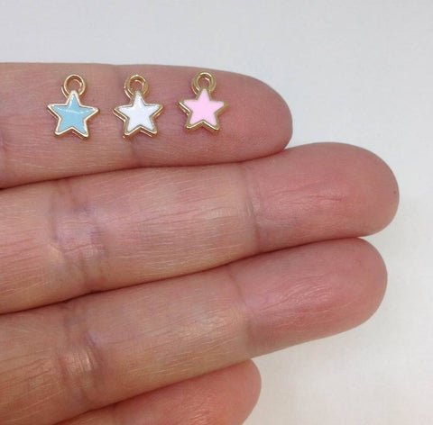 10 Tiny Enamel Star Charm For DIY Jewelry Making
