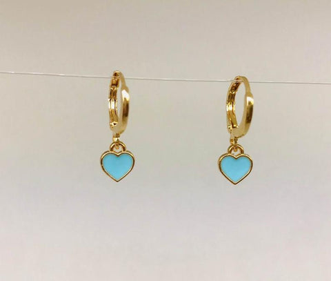 Tiny Enamel  Heart Earrings