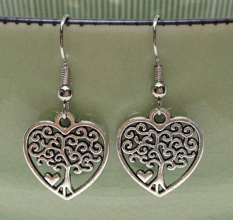 Heart Tree Charm Earrings