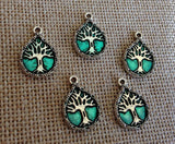 6 Tree of Life Charms Green