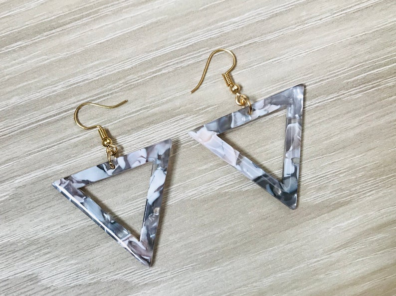 Tortoise Triangle Earrings Silver