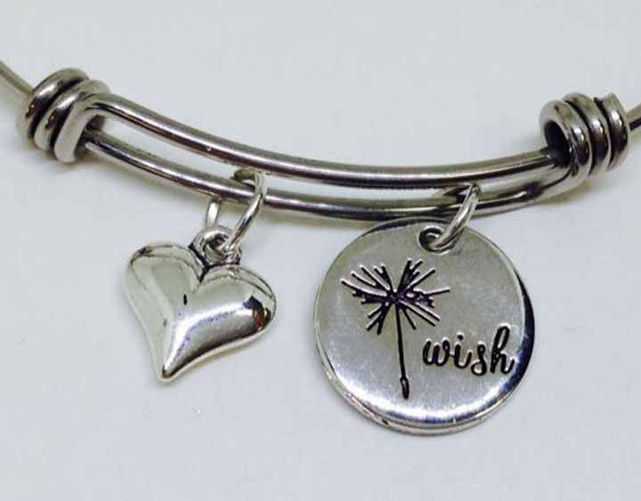 Wand Wish With Wide Heart Stainless Steel Bangle