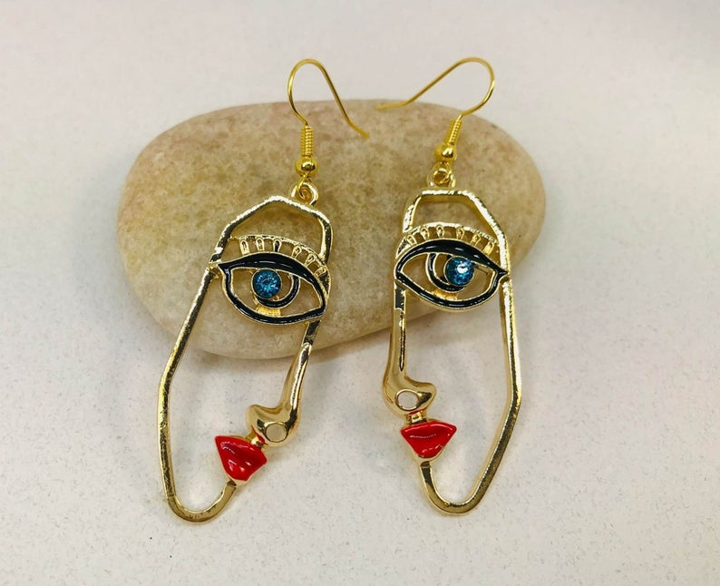 Winking Eye Earrings, Picasso Face Earrings