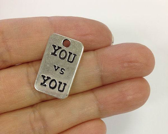 6 You vs You Charms, Cross fit Charm, Weight-lifting Charm, Personal Coach Trainer Charm, Coach Charm