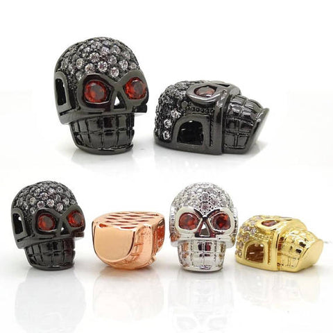Micro Pave cz Zirconia Skull Beads, Skull Space Beads for Mans Bracelet 10 mm*12 mm