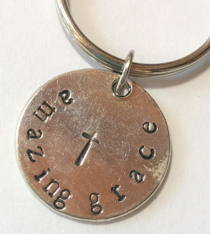 Amazing Grace Key Chain, Hand Stamped, Cross Christian gifts