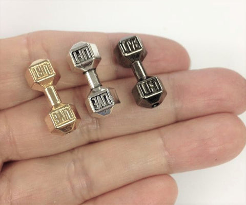 4 Barbell Bead Charm, Weightlifting Charm Wholesale