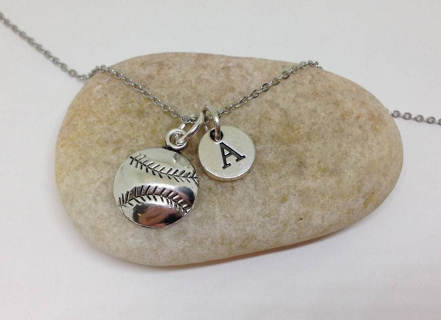 Baseball Softball Charm Personalized Necklace