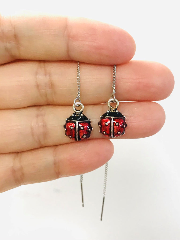Red Beetle Threaders Earrings