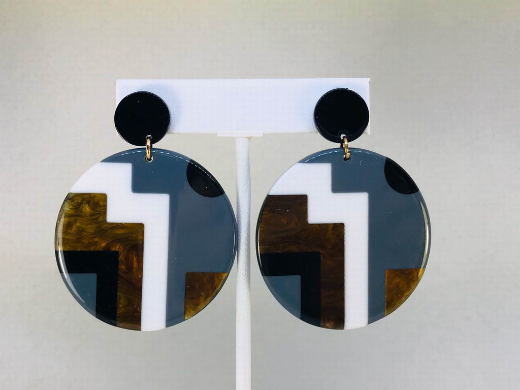 Black White Acrylic Circle Earrings
