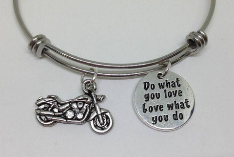 MotorBike Harley Do What You Love Bangle Bracelet Hobby Wholesale Handmade Stainless Steel Sports
