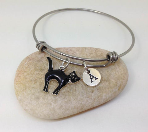 black cat bangle bracelet