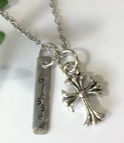 Blessed Cross Charm Necklace Hand Stamped