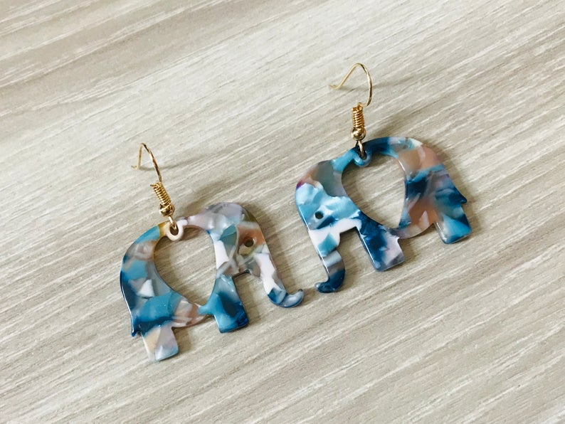 Blue Elephant Tortoise Shell earrings