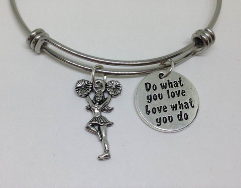 Cheer Leader Do What You Love Bangle Bracelet Hobby Wholesale Handmade Stainless Steel Sports