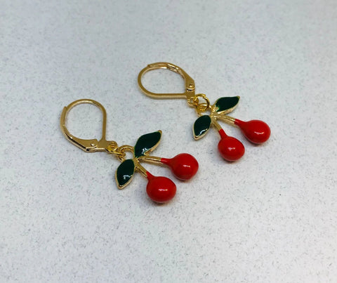 Red Cherry Leverback Earrings