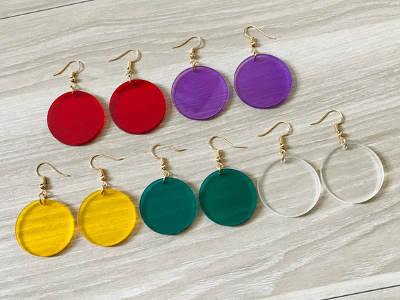 Round  Acrylic Circle Earrings