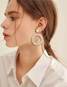 Round Circle Drop rattan woven earring wholesale