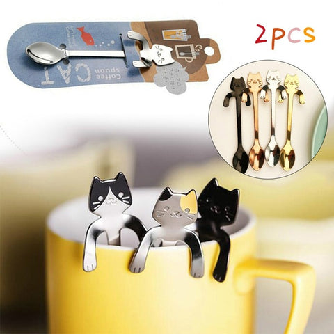 cat coffee spoons