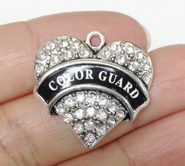 Paved Heart Color Guard Charm