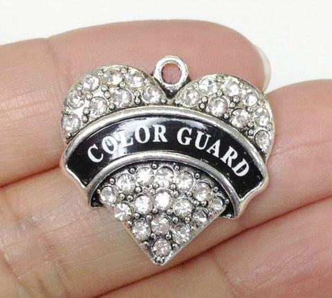 Paved Heart Charm, Paved Heart Color Guard Charm, Rhinestone Charm, Sport Charm