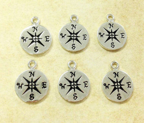 6 Compass Charms Gold or Silver