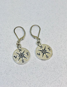 Compass Leverback Earrings